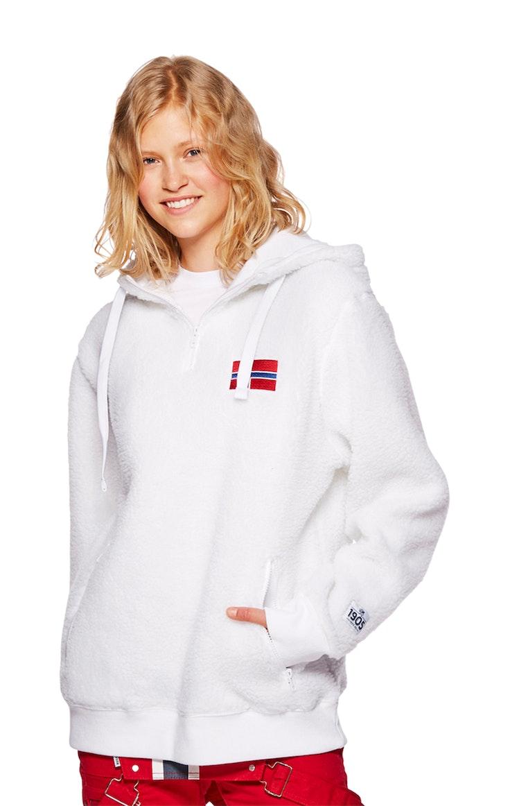 Fleece Unisex Flagg Bryst Polar Hvit
