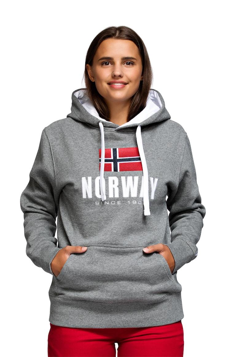 Hood Unisex Brodert Norway Mørk Grå